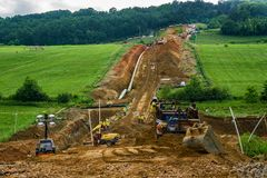 Mountain Valley Pipeline Cutting a Farmer`s Farmland in Half stock images