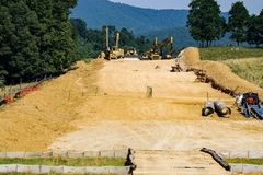 Mountain Valley Pipeline Removing Topsoil from a Farmer's Farmland Stock Images