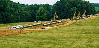 Mountain Valley Pipeline Using Heavy Construction Equipment. Roanoke County, Virginia USA – July 20th: Mountain Valley Pipeline MVP using heavy stock photos