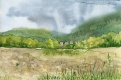 Mountain valley in the rain. Drawing by watercolor, hand drawn nature background Royalty Free Stock Images