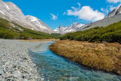 Free Mountain Valley, River And Snow Peaks In Patagonia Stock Image - 184406281