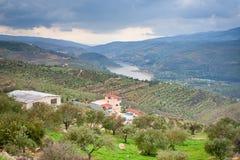 Mountain valley and river in Jordan Stock Photos