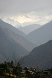 Mountain valley silhouette, himalayas Stock Photo