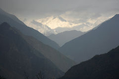 Mountain valley silhouette, himalayas Royalty Free Stock Photo