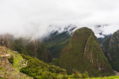 Mountain valley from the slope of the Inca city Stock Photos