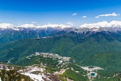 Mountain valley with snow-capped mountain peaks. height 2320 above sea level Esto-Sadok Russia Sochi stock images