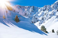 Mountain valley and snow Royalty Free Stock Photos
