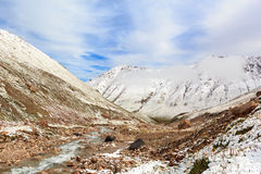 Mountain valley in the snow Stock Images
