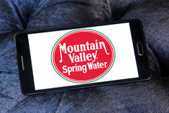 Mountain valley spring water logo. Logo of Mountain valley spring water company on samsung mobile stock photos