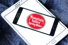 Mountain valley spring water logo. Logo of mountain valley spring water company on samsung mobile on samsung tablet stock image