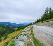 Mountain valley in summer day clouds Altai Stock Photo