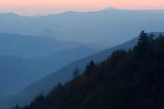 Mountain Valley Sunrise. Sunrise over the North Carolina mountains - the Great Smoky Mountains Nat. Park, USA royalty free stock image