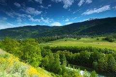 Mountain valley in swiss Royalty Free Stock Images
