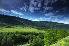 Mountain valley in swiss Royalty Free Stock Image