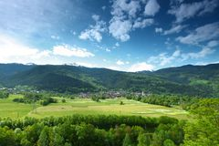 Mountain valley in swiss Stock Image