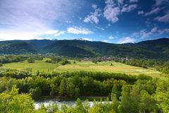 Mountain valley in swiss Stock Photo