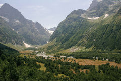 Mountain Valley, a top view of the river bed.Landscape with a mo Stock Photos