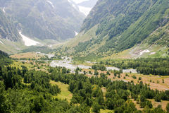 Mountain Valley, a top view of the river bed.Landscape with a mo Stock Image