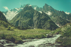 Mountain Valley, a top view of the river bed.Landscape with a mo Royalty Free Stock Photo