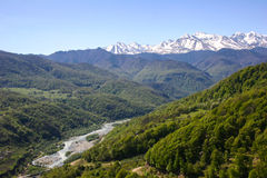 Mountain Valley, a top view of the river bed.Landscape with moun Stock Photo