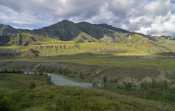 Mountain Valley under the evening sun. Altai, Russia. Chuya rive Stock Image