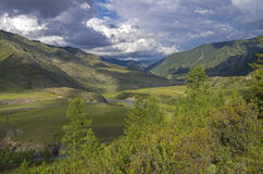 Mountain Valley under the evening sun. Altai, Russia. Chuya river. Stock Image