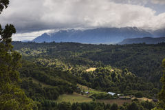 Mountain and valley view with forest Royalty Free Stock Image