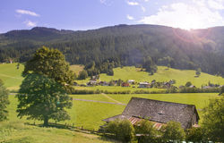 Mountain valley village in austria Royalty Free Stock Image