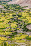 Mountain Valley and village and river-Ladakh,India. Green Mountain Valley with village and river in the middle of mountains - Ladakh, India Stock Image