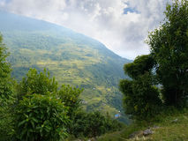 Mountain valley with village and terraced fields in the Himalaya. Top view of the mountain valley with mountain village and terraced fields on the slope in the Royalty Free Stock Photos