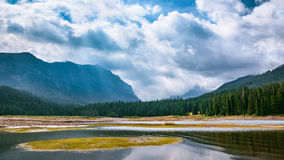 Mountain Valley Waterway. Hyalite Reservoir, Montana, USA. Landscape Background with Copy Space Royalty Free Stock Photo
