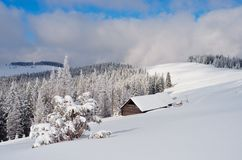 Mountain valley in winter Stock Photo