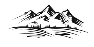 Mountain vector black. Mountain and landscape vector black on white background royalty free illustration