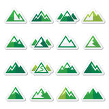 Mountain vector green icons set Stock Photography