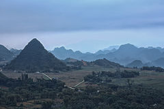 Mountain in VietNam from hill. From Hanoi go on Quoc Lo 6 Road to Mai Chau - Hoa Binh, here call Thung Khe pass Stock Images
