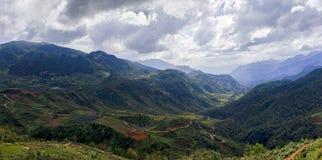 Mountain Vietnam panorama. Summer 2018 northen Vietnam panorama during hiking royalty free stock photo