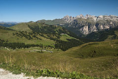 Mountain View. Summer mountain view from Gardena pass in a sunny day - Italy 2009 - Dolomiti Stock Image