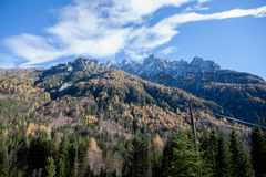 Mountain view. The rock massif of the mountain Prisank, seen from the foot of the mountainpass Vrsic in the north of Slovenia Royalty Free Stock Image