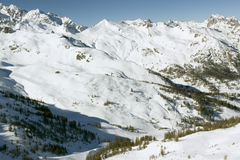 Mountain view (3), Serre Chevalier, France. View of the upper slopes, Villenerve sector, Serre Chevalier, France stock photography