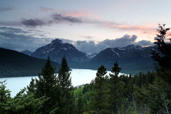 Mountain View. Scenic view of mountains and a lake in Glacier National Park, Montana Royalty Free Stock Image
