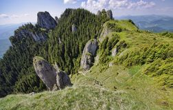 Mountain view from above. Carpathian mountain landscape in summer Royalty Free Stock Image