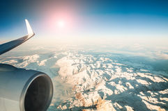 Mountain view from an airplane window Royalty Free Stock Photography