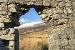 Mountain View Through Ancient Window. View of snowy mountain through window of old window in the Dublin/Wicklow Mountains near the Wicklow Gap and Glendalough stock image