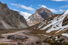 Mountain View as seen from the Ausangate Trek, Andes Mountains, Peru royalty free stock images