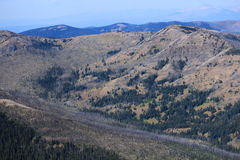Mountain View av brandskada arkivfoto