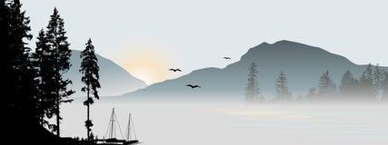 Mountain View avec des oiseaux de vol illustration stock