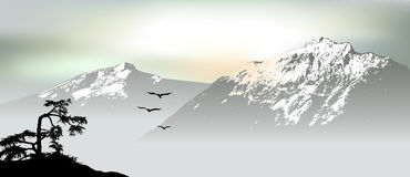 Mountain View avec des oiseaux de vol pendant le lever de soleil illustration de vecteur