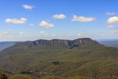 Mountain View azul Localizado em Echo Point Katoomba, Novo Gales do Sul, Austrália imagens de stock royalty free