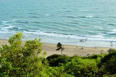 Mountain view of beach from Goa stock photography