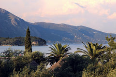 Mountain view and beautiful ionian sea. Colors of Greece Royalty Free Stock Photos